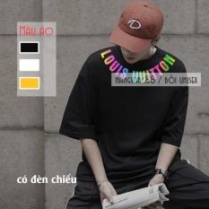 Áo thun nam nữ tay lỡ chữ Lou.is phản quang vòng cổ chất cotton cao cấp mát tay full size 2 màu đen trắng kiểu dáng Hàn Quốc unisex