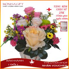 [TẶNG CHẬU SỨ 25K] Chậu Hoa Hồng Lụa Để Bàn Cao Cấp Monisa Gift, hoa giả đẹp, hoa hồng vải voan cao cấp, Hoa Giả cao cấp – Bình hoa giả – Bình hoa hồng lụa để bàn phòng khách – Cành lá giả nhân tạo