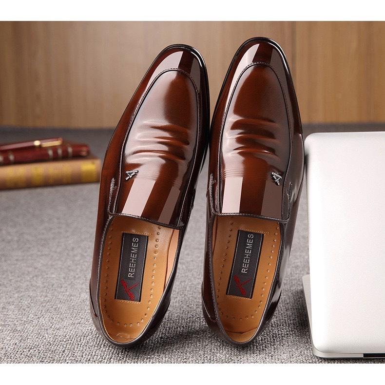Giày da Reehemes nam cao cấp, da bò nguyên miếng sang trọng , đế fit cực bền ( mầu nâu...