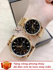 Cặp Đồng hồ đôi nam nữ BAISHUNS dây kim loại thời thượng có lịch ( BS3902 dây vàng mặt đen ) – TẶNG 1 vòng tỳ hưu phong thuỷ