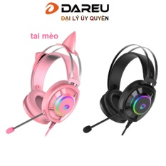 Tai nghe Gaming Dareu EH469 Pink / Đen Black LED RED tai mèo