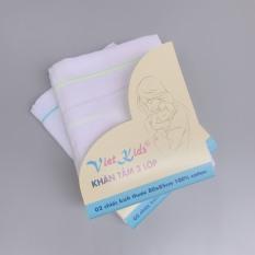 Bộ 2 khăn tắm cho bé sơ sinh Viet Kids – kích thước lớn 80x85cm vải xô gạc cotton 100% Cao Cấp
