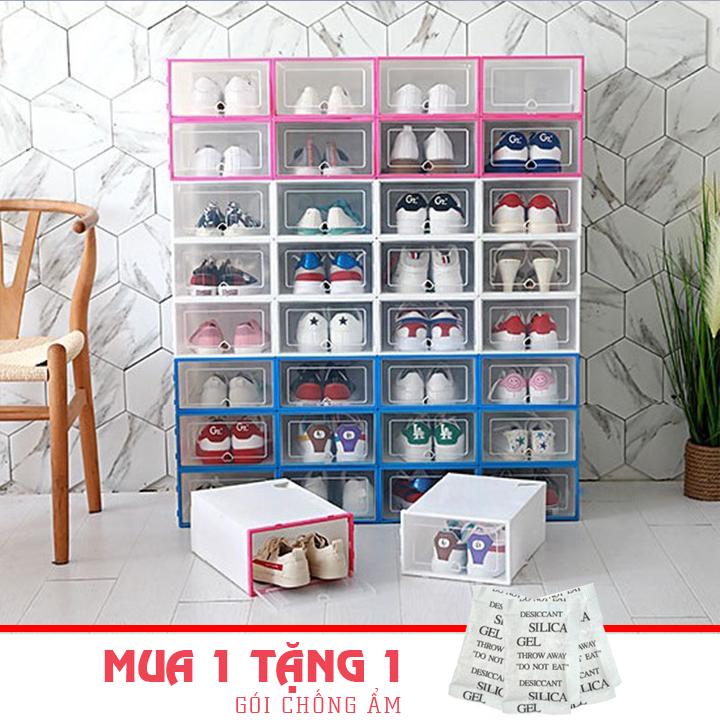 COMBO 10 Hộp Đựng Giày Dép Nắp Nhựa Cứng Trong Suốt (Size Lớn) Tủ ghép, Kệ giày,Tủ sắp xếp giày Chịu Lực 4Kg – Tặng Kèm Gói Hút Ẩm
