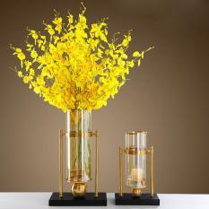 Bộ 2 Lọ hoa , Bình bông thủy tinh khung sắt mạ vàng và hoa vải khô cao cấp dáng trụ tròn chắc chắn decor trang trí nội thất , cắm hoa trang trí không gian sống DH-FDR029