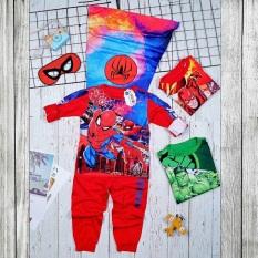 Bộ quần áo siêu nhân người nhện kèm áo choàng và mặt nạ – Đồ hoá trang siêu nhân dài tay bé trai DT68
