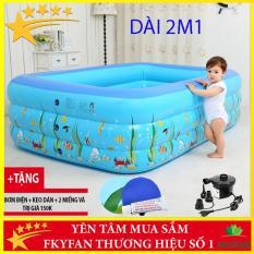 [BỂ BƠI PHAO 2M1 + TẶNG BƠM ĐIỆN + TẶNG KEO VÀ MIẾNG VÁ BỂ] Bể bơi phao bơm hơi cho bé,bể bơi ngoài trời-2m1BĐ