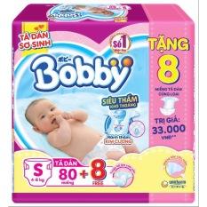 Tã Dán Bobby S80 (80 miếng) cho bé từ 4 – 8kg – Tặng 8 miếng cùng loại