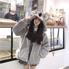 Áo Khoác Lông Mũ Tai Gấu Xám Siêu cute