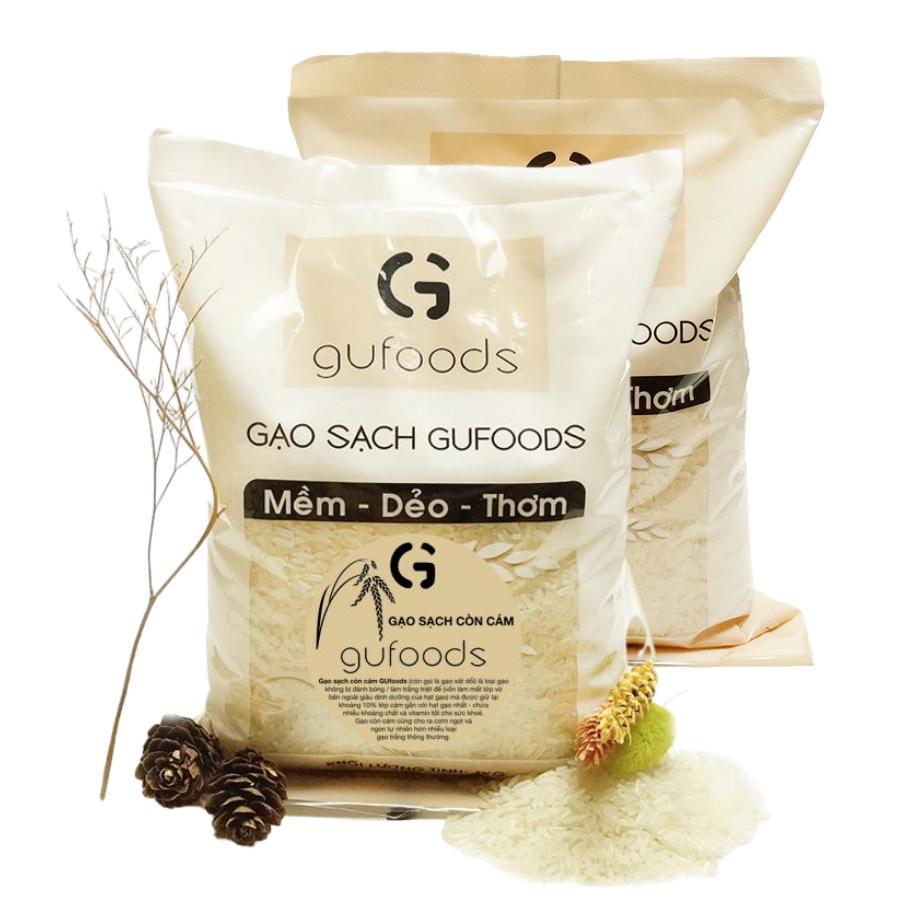 Combo 2 túi Gạo sạch còn cám GUfoods – Ngọt – mềm – thơm (mỗi túi 1kg)