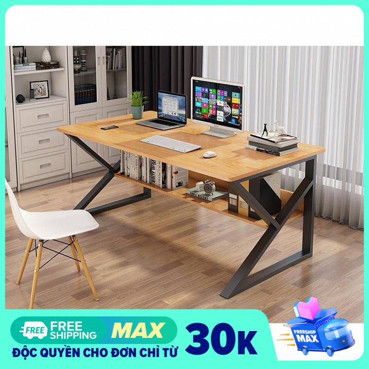 Tâm House Bàn làm việc, bàn văn phòng, bàn liền kệ đa năng, tiện ích (100x60x75cm) – BXG057