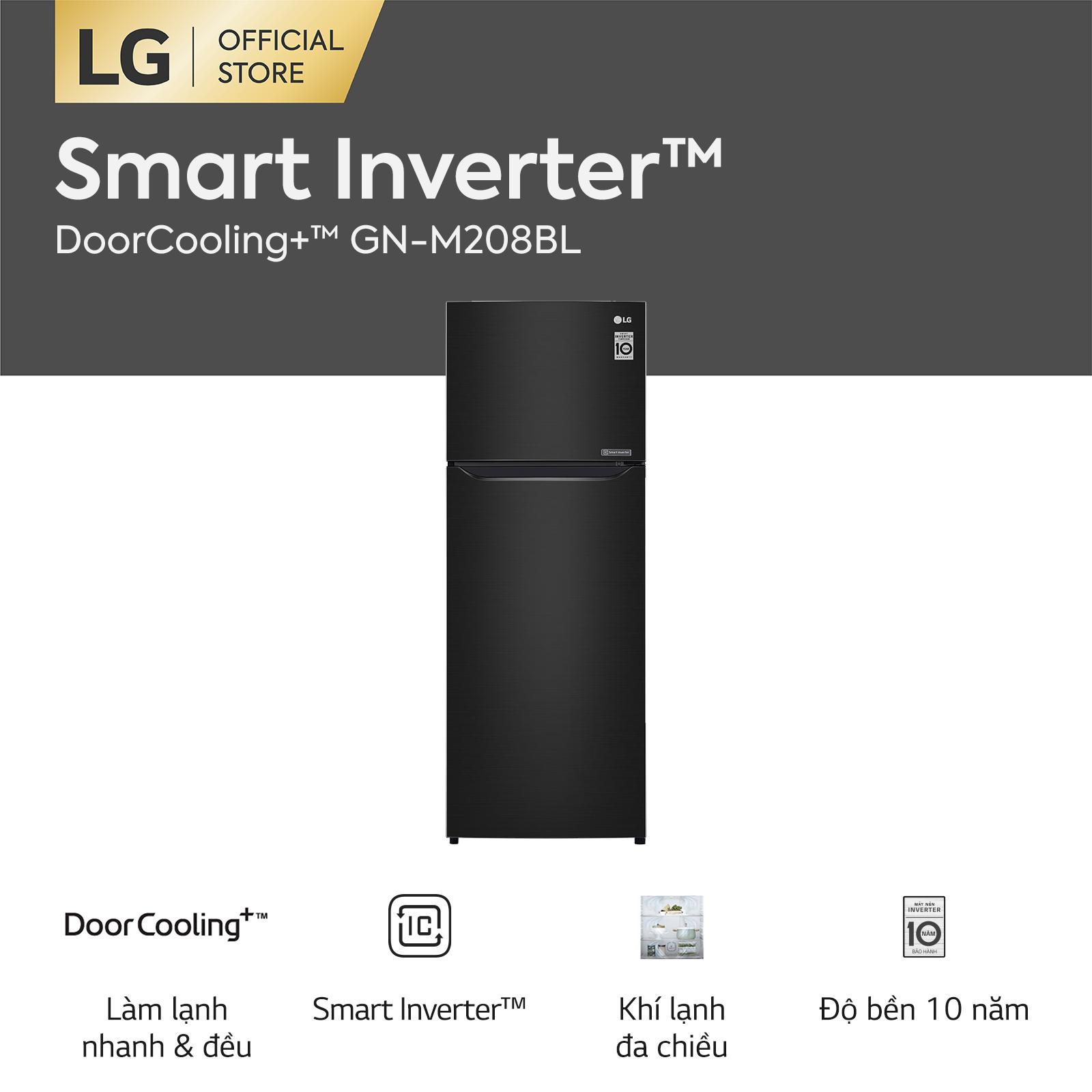 [FREESHIP 500K TOÀN QUỐC] Tủ lạnh LG Smart Inverter ngăn đá trên với DoorCooling+™ GN-M208BL 225L (Đen) 55.5 x 152 x 58.5cm – Hãng phân phối chính thức