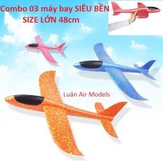 Combo 3 máy bay tàu lượn phóng tay (phi tay) xốp dẻo siêu bền size lớn 48cm (KN207x3 TP) – Luân Air Models