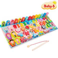 Bộ đồ chơi câu cá gỗ trí tuệ 63 chi tiết phối hợp nhiều chủ đề với hình ảnh sinh động màu sắc bắt mắt cho bé vừa chơi vừa rèn luyện trí tuệ Baby-S – SDC027