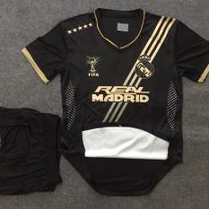 Quần áo bóng đá Real Madrid màu đen thun cao cấp mới 2020
