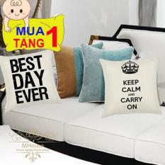 Combo 2 Vỏ Gối Tựa Lưng, Vỏ Gối sofa, Vỏ Gối ngủ, Gối Trang Trí, Gối Văn Phòng (không kèm ruột gối) (MẪU 3 Keep Calm Carry On – Best Day Ever)