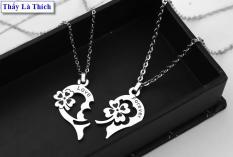 Dây chuyền cặp đôi inox thấy là thích hình cỏ bốn lá và trái tim khắc chữ Love Forever ( 2 dây + mặt như hình ) – Giá bán như trên là 1 cặp như hình