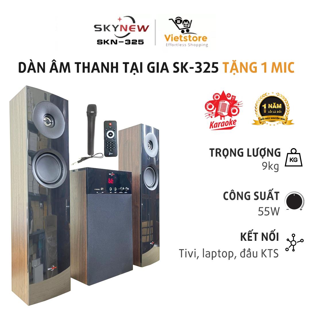 Dàn âm thanh tại gia – Dàn karaoke gia đình , âm thanh khủng kết nối Tivi , iphone, ipad, smartphone âm thanh Hifi siêu Bass có kết nối Bluetooth nghe nhạc USB thẻ nhớ Skynew – SKN325 (Tặng kèm Micro không dây)