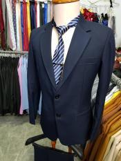 Bộ vest trung niên màu xanh đen dày mịn kiểu 2 nút (áo+quần+cà vạt+kẹp cà vạt)