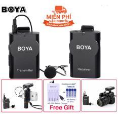Micro không dây cài áo cho điện thoại Boya BY-WM4 [Công ty nhập khẩu và phân phối] + TẶNG kèm bộ sạc pin và 04 pin sạc dung lượng cao