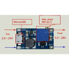 Mạch Tăng áp (Boost) DC 2 – 20V sang 5 – 28V cổng Micro USB