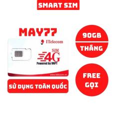 Sim 4G Vinaphone Itelecom May77 tặng 90GB data mỗi tháng, miễn phí gọi nội mạng sử dụng được toàn quốc 77K/Tháng – Smart Sim HC