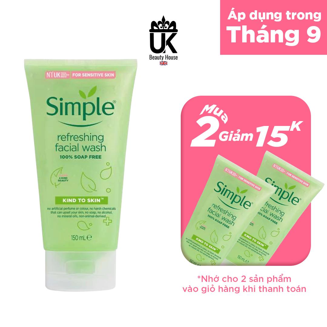 [HCM]Sữa Rửa Mặt Simple Gel Kind To Skin Refreshing Facial Wash Gel 150Ml