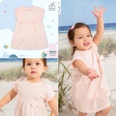 Váy cộc tay nơ ngực nhỏ kẻ hồng bé gái La Pomme