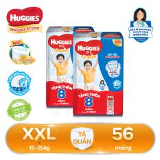 [Freeship 20K, đơn 300K] [Tặng thêm 16 miếng trong gói] Bộ 2 Tã/bỉm quần Huggies Super Jumbo XXL56 – Gói 56 miếng (Cho bé 15kg – 25kg)
