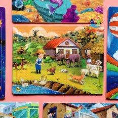 Đồ Chơi Tranh Ghép Hình 60 Miếng Ghép Gỗ Nông Trại Giúp Bé Rèn Luyện Tư Duy