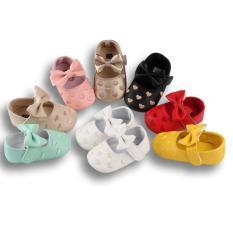 Giày búp bê họa tiết chấm bi hình tim mềm mại cho bé (9-18 tháng)