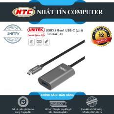 Cáp typeC sang USB đầu cái Unitek U304AGY dài 5m lõi đồng – hỗ trợ tốc độ lên đến 5Gbps (Đen)