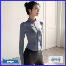 Áo khoác tập gym nữ croptop thun dệt SP208, Áo khoác thể thao nữ ôm body [Gym T-Rex]