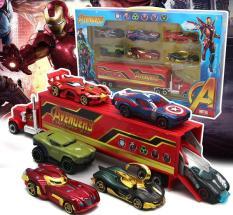 Bộ đồ chơi trẻ em xe mô hình bằng Hợp Kim gồm 6 xe con + 1 xe tải lớn Siêu Anh Hùng