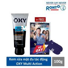 Kem rửa mặt đa tác động cho Nam Oxy Multi Action 100g + Tặng Vớ OXY cực cool