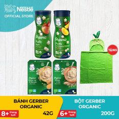 [FREESHIP] Bộ 2 hộp Bột ăn dặm Gerber Organic 200g + 2 hộp bánh ăn dặm Gerber Organic Táo hữu cơ và Nam Việt Quất Cam hữu cơ 42g+ Tặng 1 khăn choàng tắm trái thơm