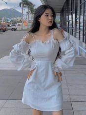 Đầm Nữ Cột Dây Hở Vai Trắng Tinh Khôi Chất Liệu Kate Thoải Mái Thời Trang HARI