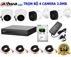 ( CHÍNH HÃNG ) Trọn Bộ 4 Camera Dahua Full HD 1080P 2.0Megapixel kèm full phụ kiện lắp đặt DH6 ( 2021 tặng thêm 80m cáp tín hiệu liền nguồn )