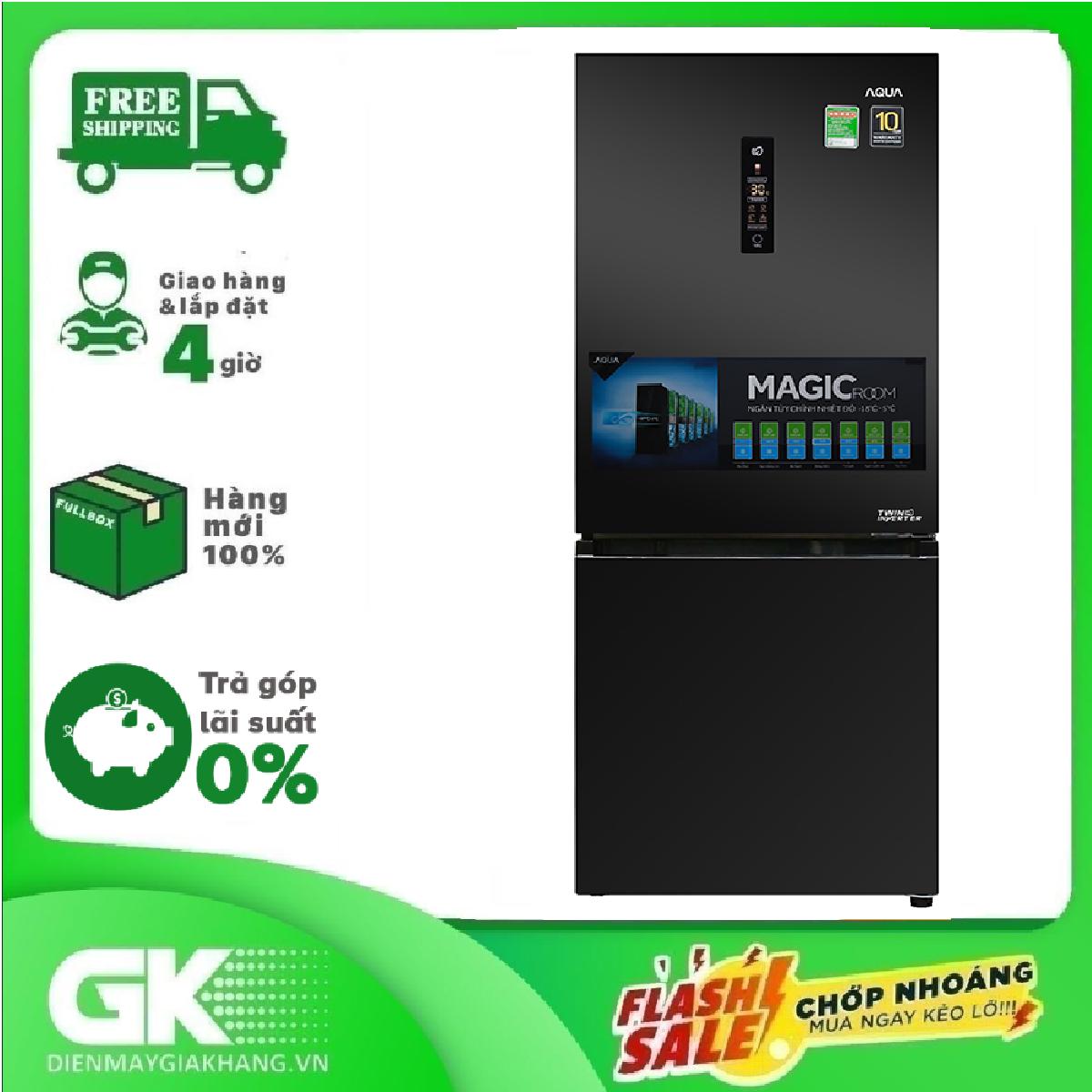 TRẢ GÓP 0% – Tủ lạnh Aqua Inverter 260 lít AQR-I298EB BS – BTRẢo hành 12 tháng