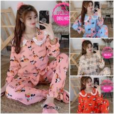 Đồ Bộ Pijama Tay Dài Phối Ren Hoạ Tiết Xinh Xắn Vải Lụa Hàn Chuẩn Loại 1,CAM KẾT ĐÚNG MẪU, size dưới 58kg(LHKS)