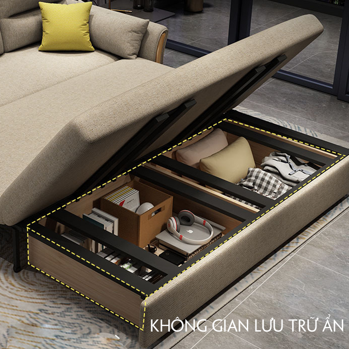 Giường Sofa thông minh , Sofa giường có ngăn đồ, KT 1,5- 1,9m