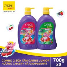 [VOUCHER GIẢM THÊM 10K] Carrie Junior Combo 2 Sữa Tắm gội cho bé: 1 Cherry + 1 Grapeberry (700g/chai)