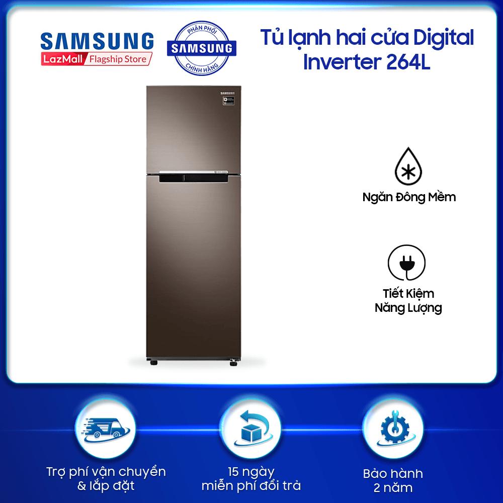 [Tặng Máy Ép Trái Cây Elmich EL-1850] Tủ lạnh hai cửa Samsung 256L với công nghệ Digital Inverter tiết kiệm điện năng – RT25M4032DX