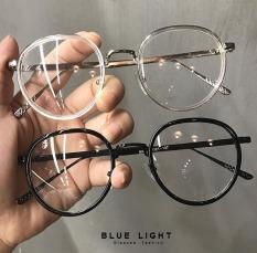 Kính Giả Cận Nam Nữ Gọng Kính Cận Không Độ [ Fullbox BLUE LIGHT ] Mắt Tròn 2 Viền Màu Đen Trong Suốt Gọng Bạc