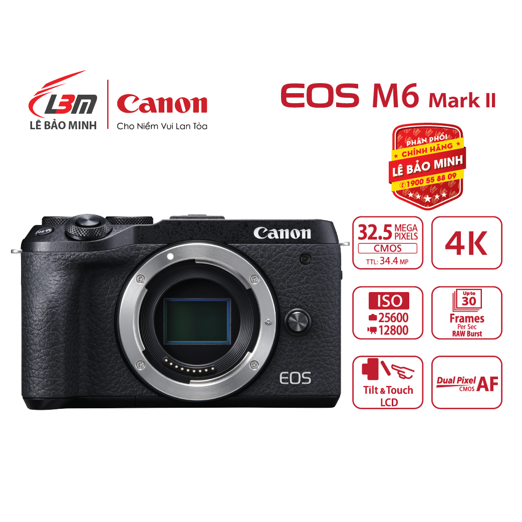 Máy ảnh Canon EOS M6 Mark II Body – Chính Hãng Lê Bảo Minh