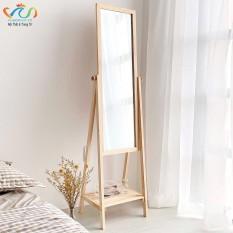 Gương Kệ Soi Toàn Thân Khung Gỗ Vuadecor màu tự nhiên – Mirror Shelf Natural