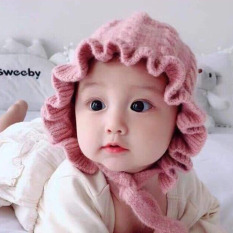 Mũ len công chúa,Mũ len chùm tai cho bé, mũ len công chúa, Mũ len tai bèo công chúa cho bé siêu xinh
