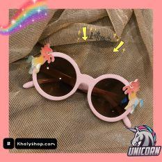 Mắt kính mát cao cấp H.M hình Unicorn màu tím lợt siêu xinh cho trẻ em, bé gái – 45NMKUNIC