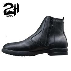 Giày nam Boots kéo khóa 2 bên phong cách da bò, phối quần jean phong cách SHOES 2H size 38-43, Đen 2H-55