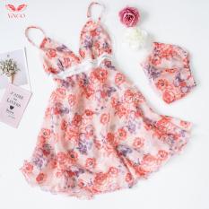 Váy đầm ngủ 2 dây sexy voan 2 lớp phối ren ngực họa tiết họa nữ tính nhiều màu Hàng thiết kế Vingo VNGO VG95