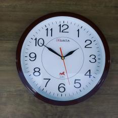 Kim giật – Đồng hồ treo tường hình tròn viền nâu – Size 30cm – Đồng hồ treo tường kim giật